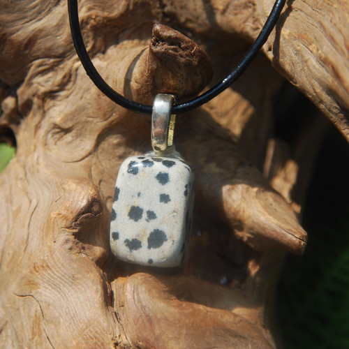 Dalmatian Jasper Tumbled Stone on a Leather Thong Necklace