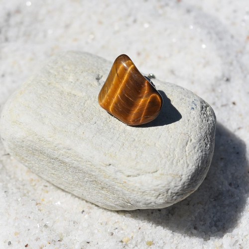 Gold Tiger's Eye Stone Tie Tack
