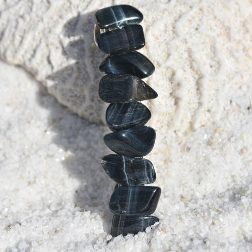 Blue Tiger's Eye Stone French Barrette Hair Clip