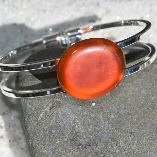 Carnelian Palm Stone Silver Bangle Cuff Bracelet