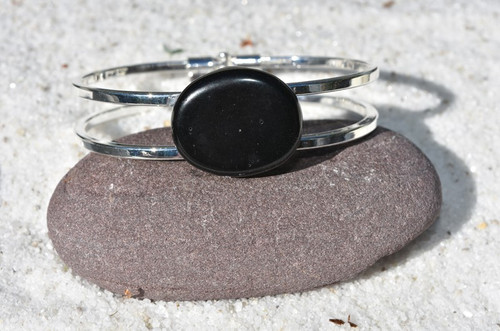 Apache Tears Palm Stone Silver Bangle Cuff Bracelet