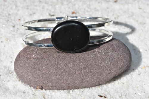 Apache Tears Palm Stone Silver Cuff Bracelet