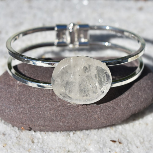 Clear Crystal Quartz Palm Stone Silver Bangle Cuff Bracelet