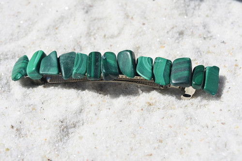 "Malachite Stone French Barrette Hair Clip 4"" or 100 mm Length"