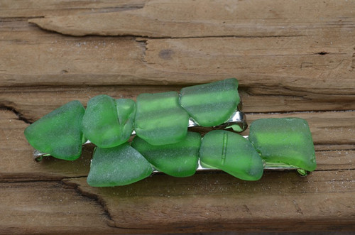 Genuine Kelly Green Sea Glass Barrettes (Set of 2)