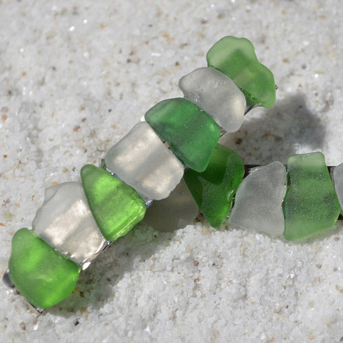 White and Green Sea Glass Barrettes