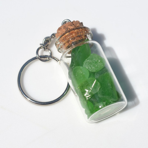 Green Sea Glass in a Glass Vial Key Chain