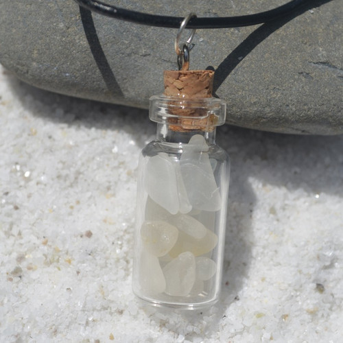 Frosted Sea Glass Necklace in a Glass Vial