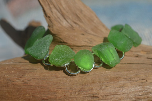 Frosted Green Sea Glass Bracelet