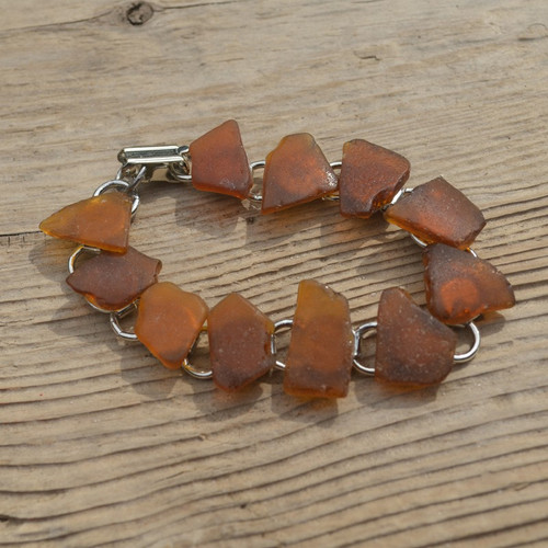 Amber Brown Sea Glass Bracelet