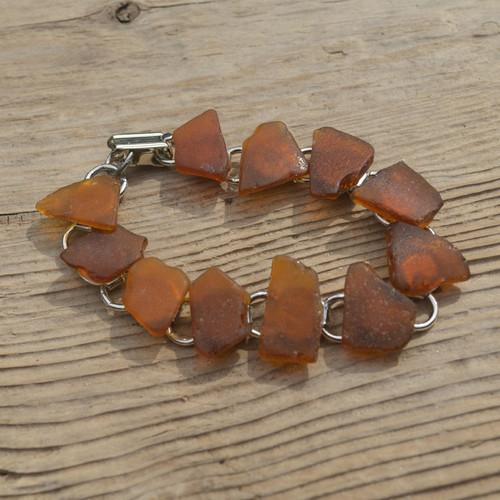 Amber Brown Sea Glass Bracelet