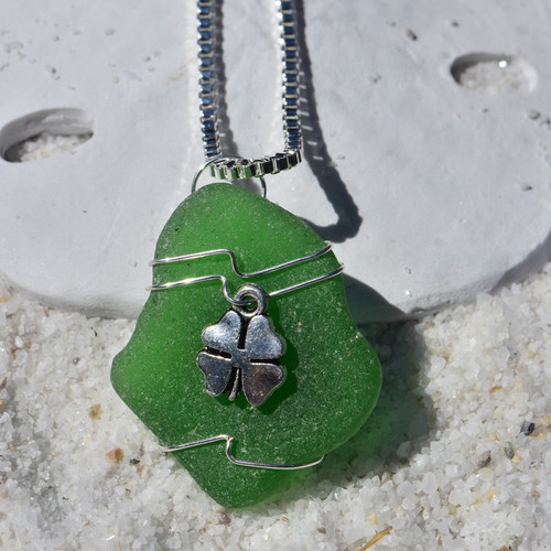 Custom Handmade Genuine Sea Glass Necklace with a Silver Shamrock Charm - Choose the Color - Frosted, Green, Brown, or Aqua