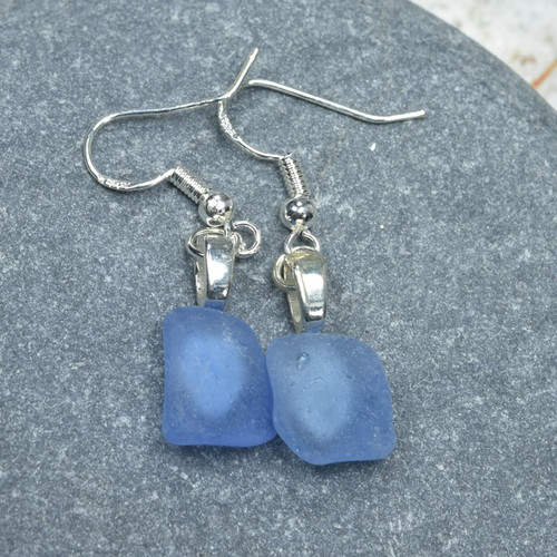 Dangling Cornflower Blue Sea Glass Earrings