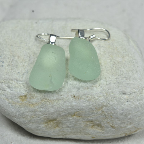 Dangling Aqua Sea Glass Earrings