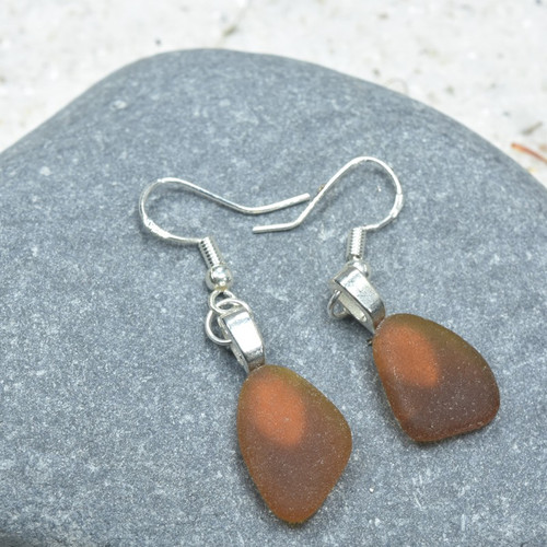 Pair of Genuine Surf Tumbled Dangling Brown Sea Glass Earrings