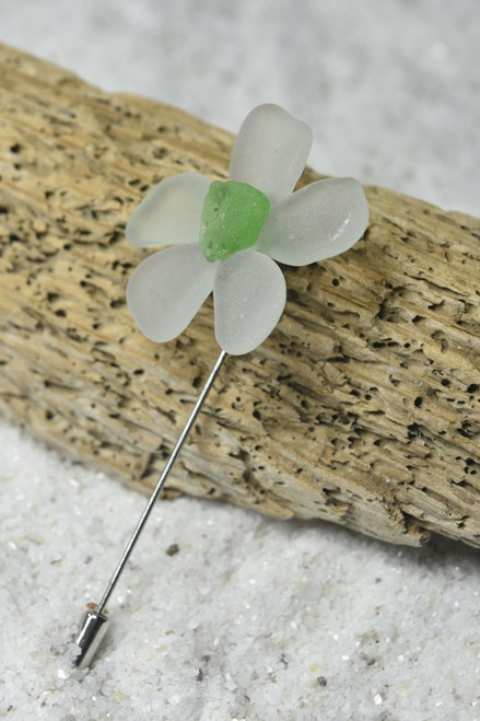 Frosted White and Green of Sea Glass Flower Lapel Pin or Brooch