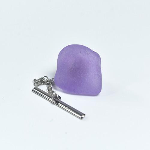 Purple Sea Glass Tie Tack