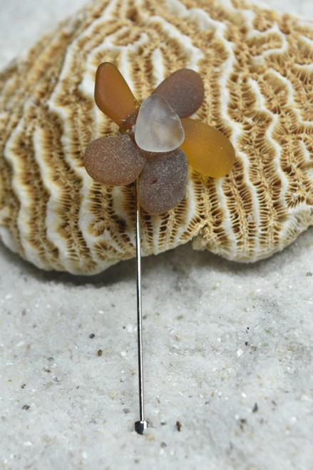 Brown and Frosted White Sea Glass Flower Lapel Pin or Brooch