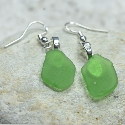 Dangling Green Sea Glass Earrings