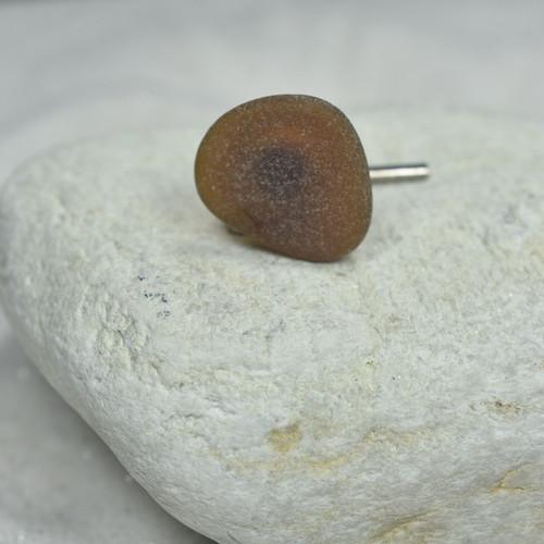 Custom Genuine Surf Tumbled Dark Brown Sea Glass Tie Tack - Quantity of 1