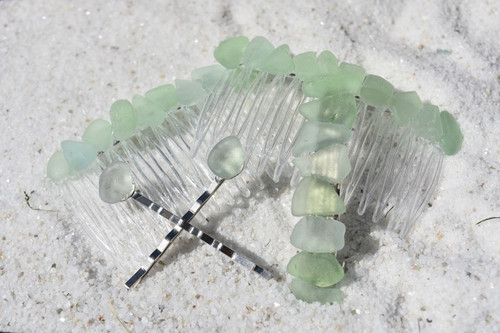 Surf Tumbled Aqua and Sea Foam Sea Glass Hair Clip Set