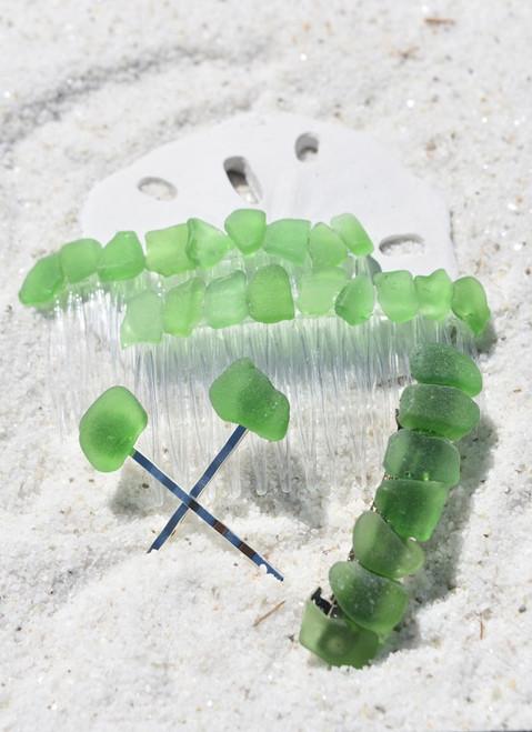 Green Sea Glass Hair Clip Set