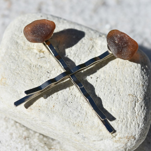 Genuine Surf Tumbled Amber Brown Sea Glass Hair Pins (Set of 2)