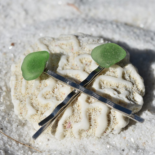 Genuine Surf Tumbled Green Sea Glass Hair Pins (Set of 2)