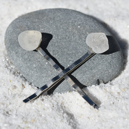 Genuine Surf Tumbled Frosted Sea Glass Hair Pins (Set of 2)