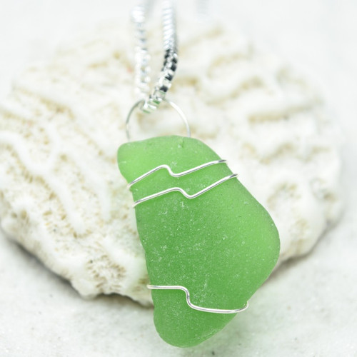 Custom Surf Tumbled Green Sea Glass Wire Wrapped Pendant and Necklace - Choose Sterling Silver Chain or Leather Cord