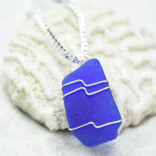 Custom Surf Tumbled Cobalt Blue Sea Glass Wire Wrapped Pendant and Necklace - Choose Sterling Silver Chain or Leather Cord