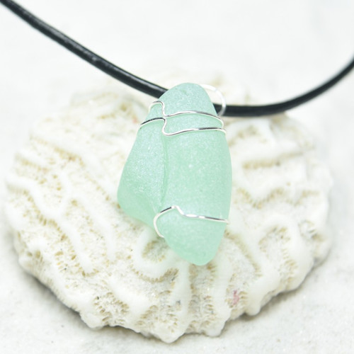 Custom Surf Tumbled Aqua or Sea Foam Sea Glass Wire Wrapped Pendant and Necklace - Choose Sterling Silver Chain or Leather Cord
