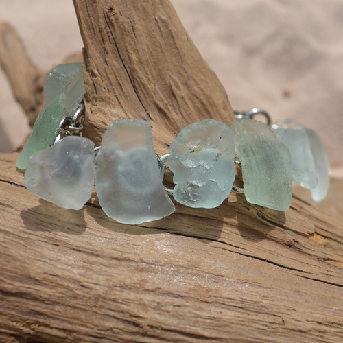 Aqua and Sea Foam Sea Glass Bracelet