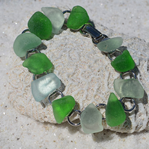 Shades of Green of Sea Glass Bracelet