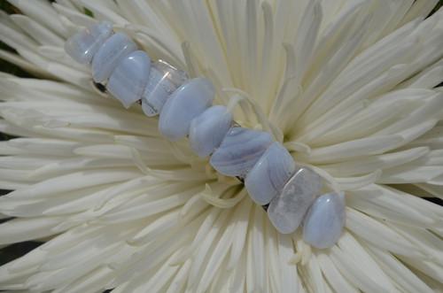 Tumbled Blue Lace Agate Stone Barrette