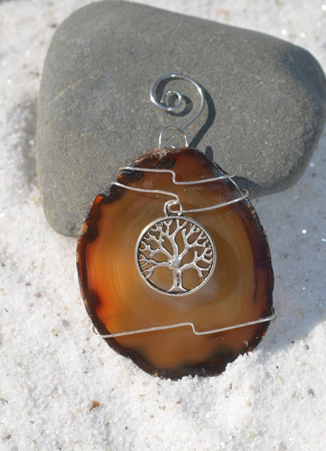 Custom Handmade Agate Slice Ornament with Silver Tree of Life Charm - Choose Your Agate Slice Color