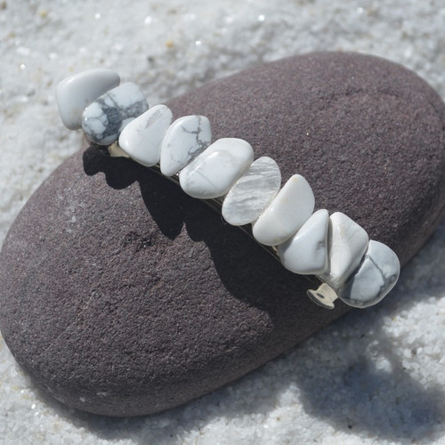 White Howlite Stone French Barrette