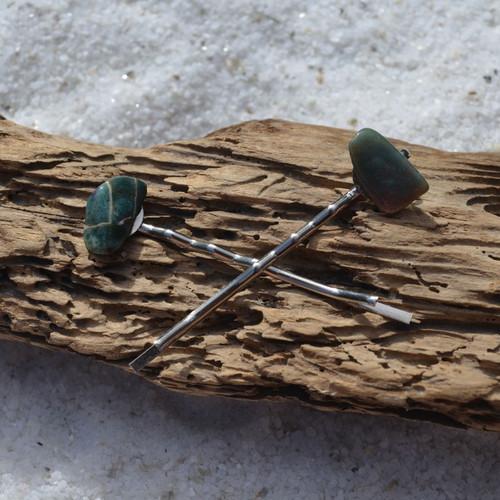 Labradorite Stone Hair Pins