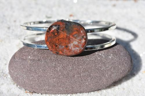 Brecciated Jasper Palm Stone Silver Bangle Cuff Bracelet
