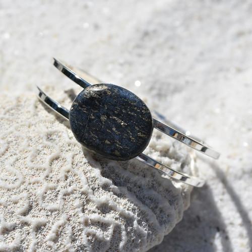 Lapis Lazuli Palm Stone Silver Bangle Cuff Bracelet