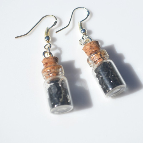 Black Tourmaline Stones in Delicate Glass Vial Earrings