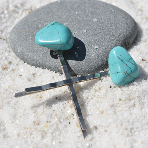 Turquoise  Stone Hair Pins (Quantity of 2) - Made to Order