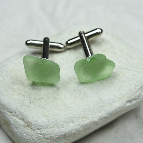 Sea Foam Sea Glass Cufflinks