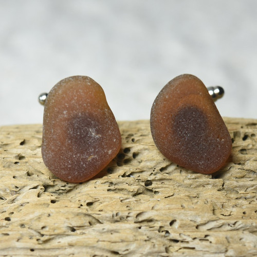 Brown Sea Glass Cufflinks