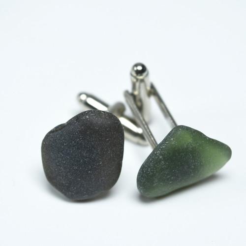 Olive Green Sea Glass Cufflinks