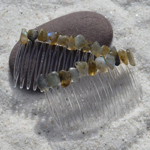 Labradorite Stone Hair Combs (Quantity of 2)