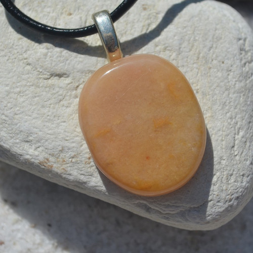 Yellow Jasper Palm Stone  Necklace