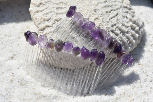 Amethyst Stone Hair Combs
