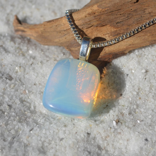 Opalite Stone on a Sterling Silver Box Chain Necklace