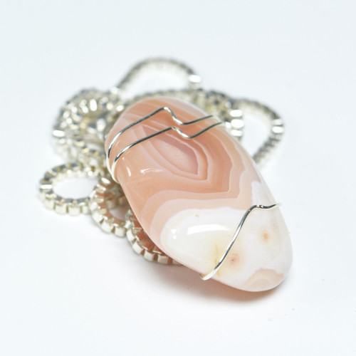 Wire Wrapped Apricot Agate Stone Pendant and Necklace